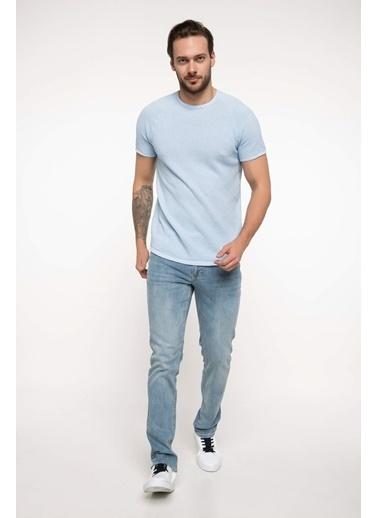 DeFacto Slim Fit Sıfır Yaka Triko T-shirt Mavi